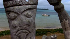 South Pacific Wooden Carving Head Closeup Stock Footage