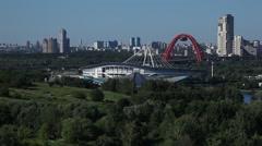 MOSCOW.RUSSIA-2013: Zhivopisny Bridge and Krylatskoye Sports Complex Velodrome Stock Footage