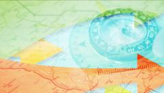 Abstract  background with compass and arrows. - stock footage