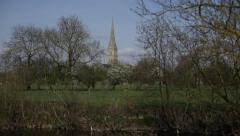 Salisbury Cathedral BEST tilt - stock footage