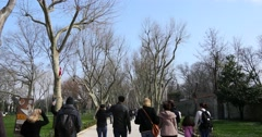 Tourists in park of Topkapi Palace 4K Stock Footage