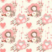 Stock Illustration of Elegant seamless pattern with blossom flowers, hearts and arrows