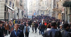Istiklal Avenue with people crowd Istanbul Stock Footage