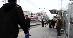 People waiting on tram station Istanbul Stock Footage