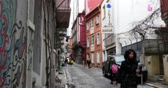 Old street in Beyoglu part of Istanbul Stock Footage