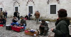 Street sellers at the Beyazit square in Istanbul Stock Footage