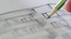 Architect is Sketching a Building on Paper Stock Footage