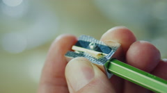 Sharpening a Pencil. Close-up - stock footage