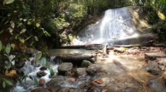 Clean and fresh waterfall in the forest at Bukit Saga Stock Footage