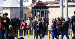 Taksim-Tunel Tram at the Taksim square Stock Footage