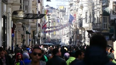Slow Motion People Crowd Istiklal Avenue Stock Footage