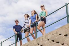 Teenagers Holidays Beach Hangout Stock Photos