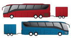Stock Illustration of Tourist bus with attached trailer