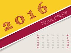 Simplistic november 2016 calendar design - stock illustration