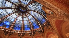 PARIS.FRANCE- 2013: Galeries Lafayette inside Stock Footage