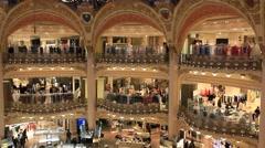 PARIS.FRANCE- 2013: Galeries Lafayette inside Stock Footage