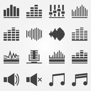 Sound or music sound wave icons vector set - stock illustration