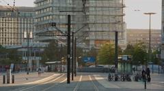 Stock Video Footage of Berlin morning time Alexanderplatz tram pass by