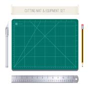 Cutting Mat and Equipment Set - stock illustration