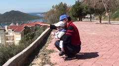 Mother and child at panoramic place Stock Footage