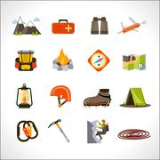 Climbing Icons Set - stock illustration