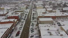 Snowy Historic Perrysburg, Ohio Aerial View Stock Footage