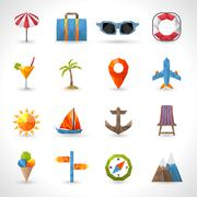 Travel Polygonal Icons Stock Illustration