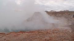 El Tatio geyser boils at the famous El Tatio geyser valley,  Chile. - stock footage