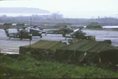 MASH Vietnam Hospital 1960s #5 - Airfield with Helicopters - stock footage