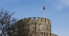 Zoom of the famous Rumeli Fortress in Istanbul Stock Footage