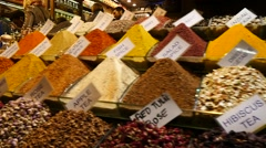 Spices in the Egyptian Bazaar Stock Footage