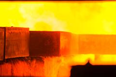 Industry steel, Charging slab in Furnace. Stock Photos