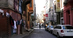 Streets of Balat part in Istanbul 4K Stock Footage