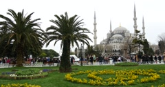 Park in Istanbul with view on Sultanahmet Mosque Stock Footage