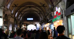 Inside of the Grand Bazaar in Istanbul Stock Footage