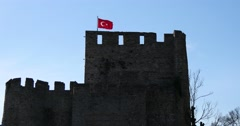 Anadolu Fortress with Turkish flag Stock Footage