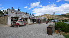 New Zealand Cromwell old town historical store and tourists Stock Footage
