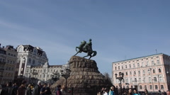 Monument of Bohdan Khmelnytsky Stock Footage