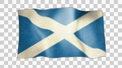 Scottish flag with alpha channel. Stock Footage