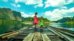 Cheow Lan Lake or Rajjaprabha Dam Reservoir, Thailand - stock footage
