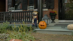Scarecrow and pumpkin best friends forever. Stock Footage