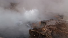 El Tatio geyser boils at the famous El Tatio geyser valley,  Chile. Stock Footage