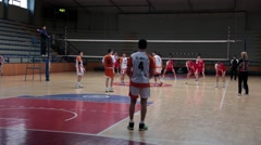 Beginning Of The Volleyball Game In Sports Hall, Successful Service , Adding Stock Footage