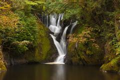 Dyfi Furnace Waterfall in early autumn - stock photo
