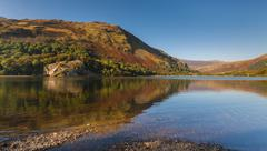 Reflections of Autumn Colours in a Snowdonia Lake - stock photo