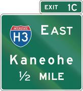 Hawaii Interchange Advance Guide Signs Stock Illustration