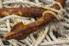 Rope and anchor fluke at Mudeford Quay Stock Photos
