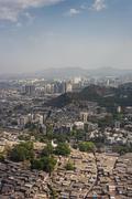 Aerial view of Mumbai slums - stock photo