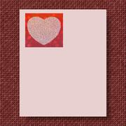 Writing paper with marsala knitted background and pink paper with love for mo - stock illustration