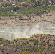 Controlled Explosion in an Asbestos Quarry Stock Photos